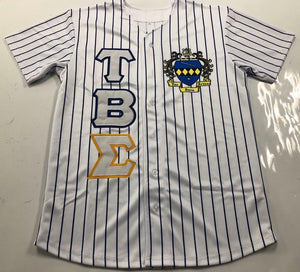 Tau Beta Sigma - White Baseball Jersey With Crest