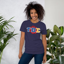 Load image into Gallery viewer, Tau Beta Sigma - Greek Rose Double Sided - Short-Sleeve Unisex T-Shirt