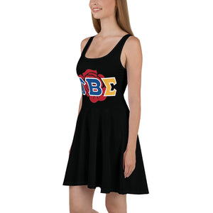 Tau Beta Sigma - Greek Rose - Black - Skater Dress