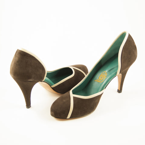 Aglaea: Brown Suede w/Nude trim