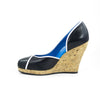 Aglaea Cork Wedge: Black Calf w/Pearlized White Trim