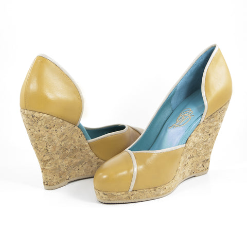 Aglaea Cork Wedge: Camel w/Nude Trim