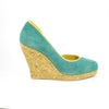 Aglaea Cork Wedge: Turquoise Suede w/Yellow Trim
