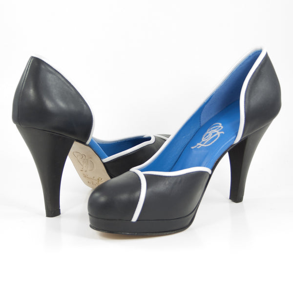Aglaea Wood Heel: Black Calf w/Pearlized White Trim