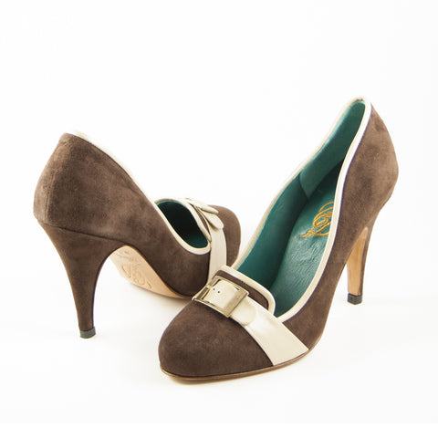 Bia: Brown Suede w/Champagne trim