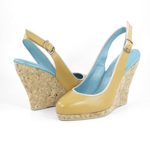 Callipygos Cork Wedge: Camel w/Nude Trim