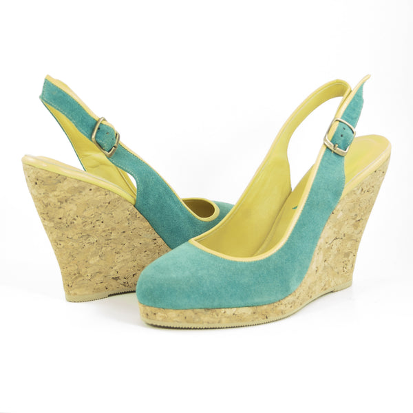 Callipygos Cork Wedge: Turquoise Suede w/Yellow Trim