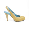 Callipygos Wood Heel: Camel w/Nude Trim