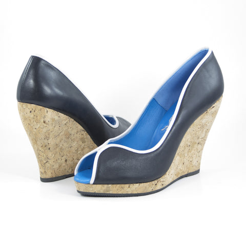 Euphrosyne Cork Wedge: Black Calf w/Pearlized White Trim