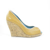 Euphrosyne Cork Wedge: Camel w/Nude Trim