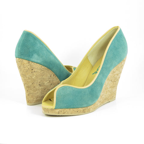 Euphrosyne Cork Wedge: Turquoise Suede w/Yellow Trim