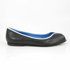 Euphrosyne Ballet Flat: Black Calf w/Pearlized White Trim