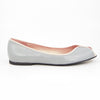 Euphrosyne Ballet Flat: Light Gray w/Blush Pink Trim