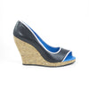 Hacho Cork Wedge: Black Calf w/Pearlized White Trim