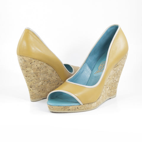 Hacho Cork Wedge: Camel w/Nude Trim