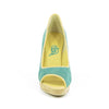 Hacho Cork Wedge: Turquoise Suede w/Yellow Trim