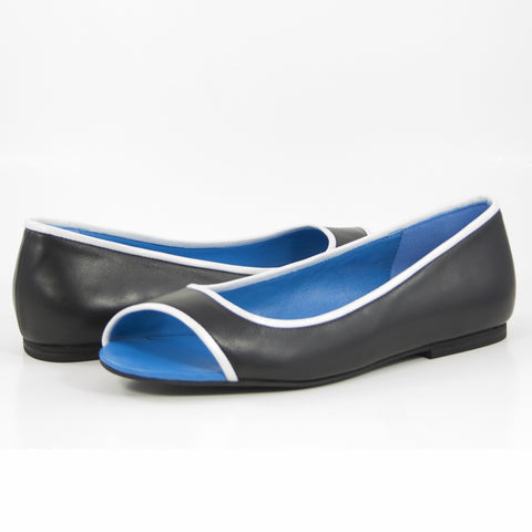 Hacho Ballet Flat: Black Calf w/Pearlized White Trim