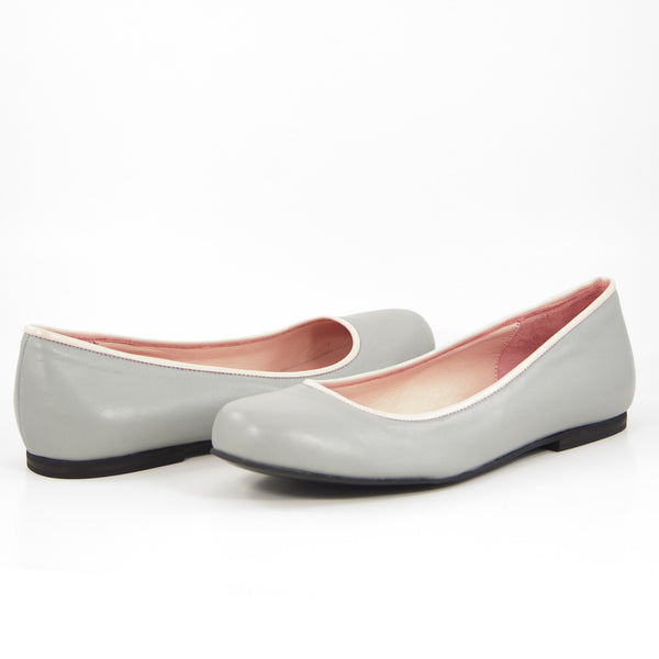 Isis Ballet Flat: Light Gray w/Blush Pink Trim