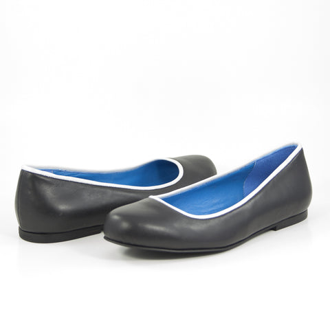 Isis Ballet Flat: Black Calf w/Pearlized White Trim