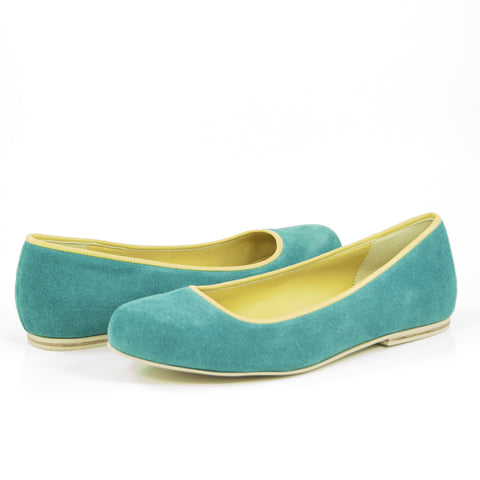 Isis Ballet Flat: Turquoise Suede w/Yellow Trim