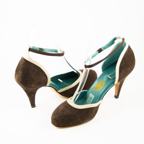 Thalia: Brown Suede w/Nude trim