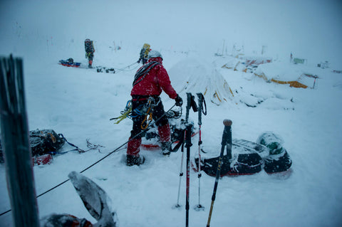 Stefen prepares for his ascent in his Khunu yak wool sweater /> </div>   <div style=