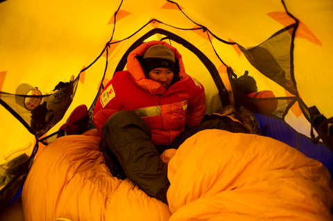 Cold night in the tent at Denali kept warm by Khunu yak wool sweaters.