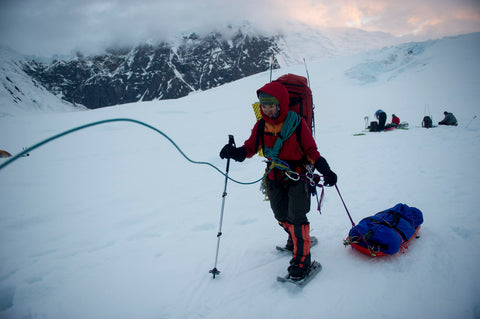 Climbing Mt. Denali in Khunu yak wool sweater