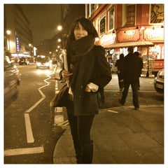 Filmmaker Jodi Smith in out on the town wearing her Mongolian Yak Wool Travel Wrap