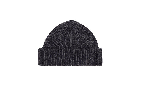 Fisherman Beanie: Marled Grey and Navy - Khunu yak wool