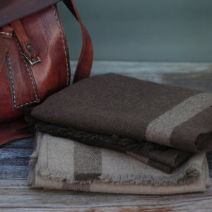 Travel Wrap Classic: Brown with Grey Stripe - Khunu yak wool