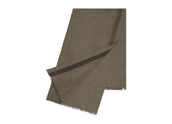 Travel Wrap Classic: Grey with Brown Stripe - Khunu yak wool