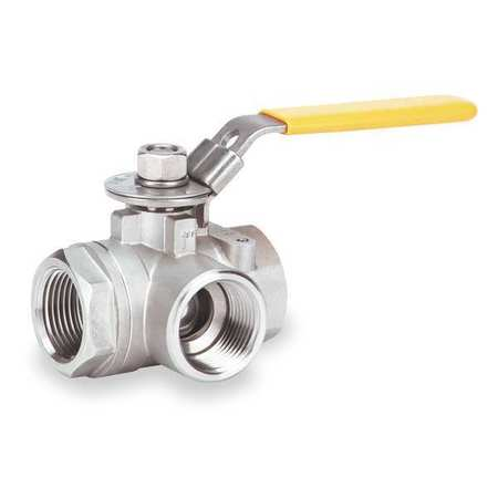 Stainless Steel 3 Way Ball Valve 3/4'' P/N: GG34TCWL