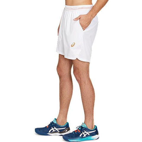 Asics Tennis 7 Inch Short - Brilliant White/Sunrise Red