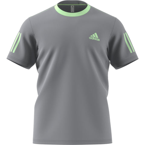 Adidas Club 3 Stripe Tee - Grey/Glow Green