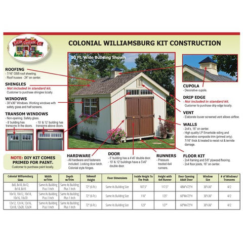 Colonial Williamsburg Storage Shed Specs