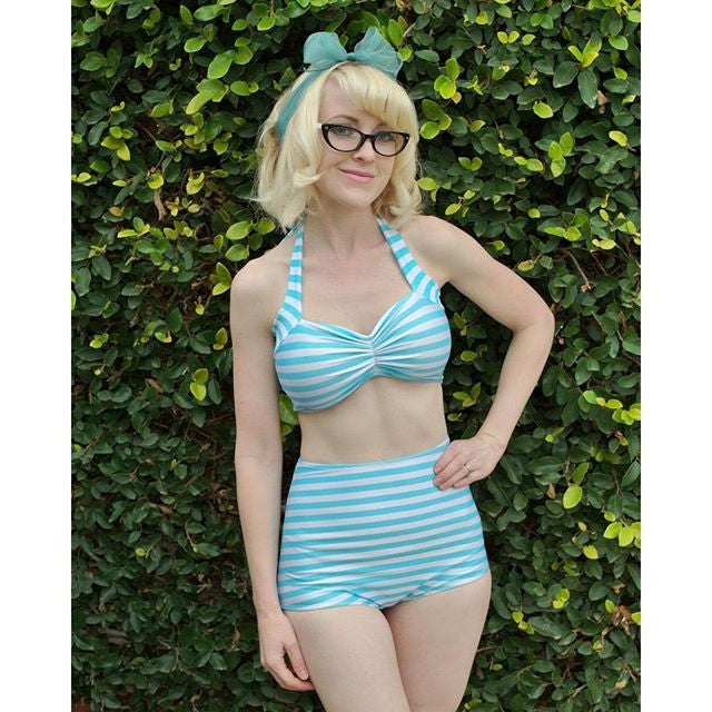 Candy Stripe High Waist Bikini - meNmommy.com  - 1