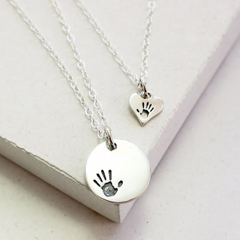 Handprint Disc Necklace Set