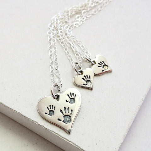 Handprint Triple Heart Necklace Set