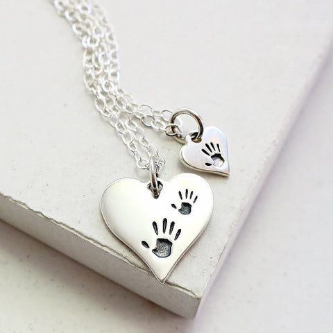 Handprint Heart Necklace Set