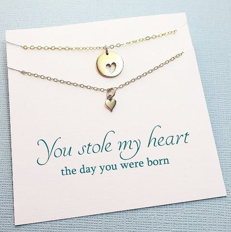 Heart Disc Necklace Set