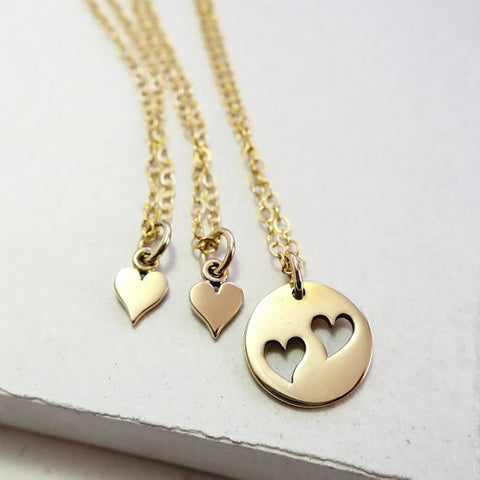 Heart Disc Triple Necklace Set