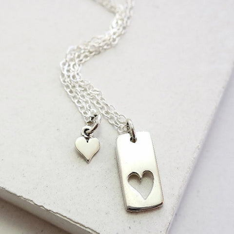Heart Tag Necklace Set
