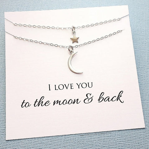 Moon and Star Necklace Set