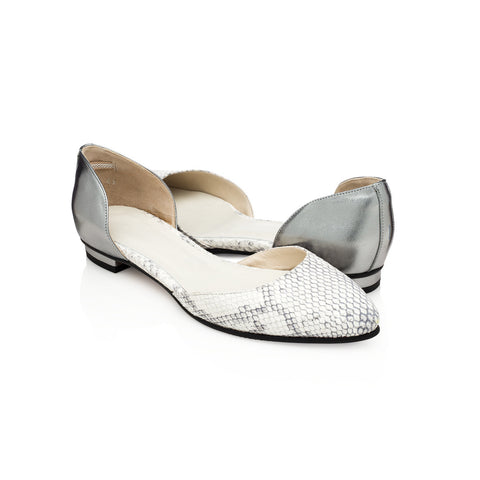 Reese D'Orsay Flats - Snake and Pewter