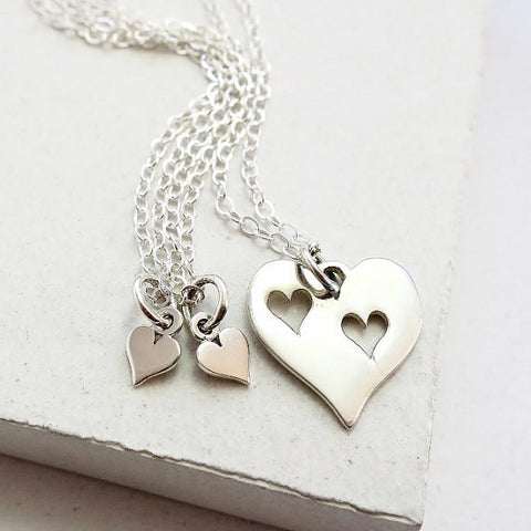 Triple Heart Necklace Set