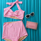 Candy Stripe High Waist Bikini - meNmommy.com  - 2