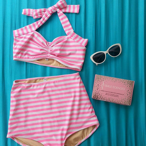 Candy Stripe High Waist Bikini