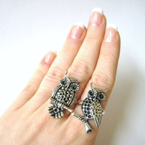 Twin Owl Rings