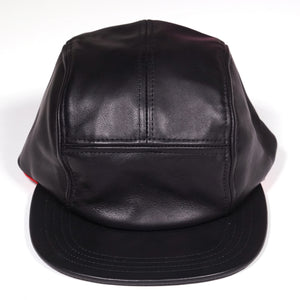 Epaulet Cap in Black Smooth leather